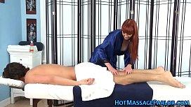 Ginger masseuse sucks dick