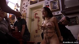 Hot ass petite babe banged in public bar