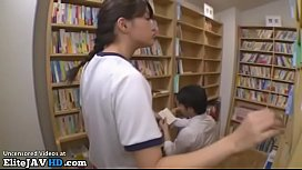 Japanese teen in swimsuit fucked in public library