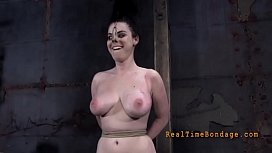 Tough lass receives electrifying punishment for her nipps