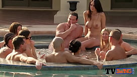 Swingers strip and take a dip at pool