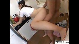 JAV pale schoolgirl standing sex in kitchen Subtitles