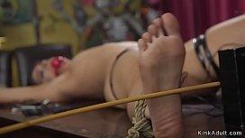 Petite slut anal fucked in bondage