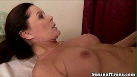 Lesbian TS fucks mature pussy after massage