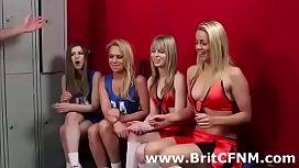 British femdom girls strip CFNM amateur guys in sports scene