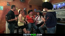 Chubby party girls have fun in the bbw bar