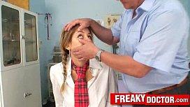 Old pussy doctor treats a school girl Rachel Evans