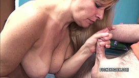 Curvy MILF Liisa is sucking a stiff cock in the office