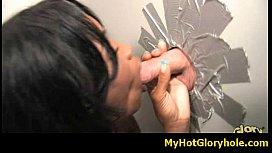 Initiating black girl in the art of interracial gloryhole blowjob 17