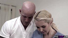 Shy blonde teen Chloe Cherry got a hot fuck massage with the masseuses horny husband named Derrick Pierce.