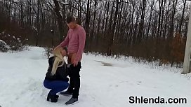 Winter sex in show outdoor. Sexy russian schoolgirl teen and mature daddy