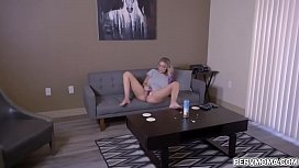 Blonde slutty wife Kenzie Taylor found a new vibrator from the laundry and plays it while her horny stepson is controlling it until she cums.