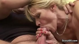 Blonde Mature with Hairy Pussy and Saggy Tits Fuck Young Boy