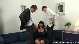 Her old fat pussy gets nailed by two cocks
