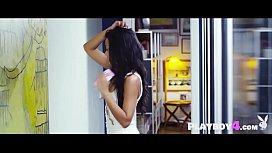 Israelian MILF brunette touching her body and fingering