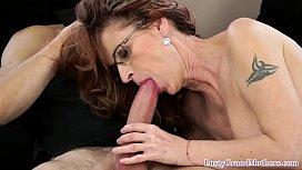 Stockinged cock sucking granny fucked