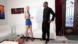 Pissed blonde rides black guys dick