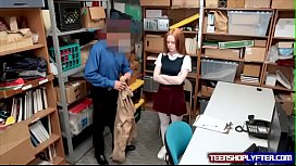Readhead Teen Shoplyfter Open Her Legs for Officer