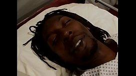 Horny black nurse Desire Devil Len rides black stud on his hospital bed