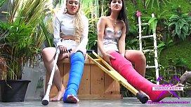 Fetish-Concept.com - 2 Girls with Long Cast Leg visit a flower store Part 2 (LCL)