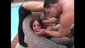 Curvy slut in leather has rough dp fucking by pool