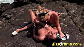 JizzOrama - Anetta Keys &amp_ Tarra White Lesbian Beach Fuck