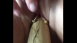 Wooden dildo masturbation