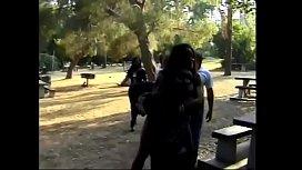 Three hot ebony sluts get their cunts licked by three black studs