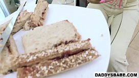 d. gives dad a sandwich &amp_ blowjob for breakfast
