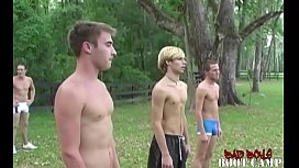 Athletic young men group workout before big cock sucking and handjob
