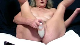 Horny Wife Masturbates Her Hot Cunt With A Large Rabbit Vibrator