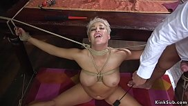 Busty wife takes bdsm sex and cumshot