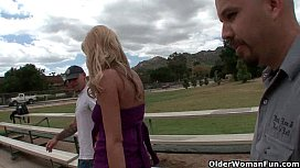Blonde soccer mom lets cuckold hubby watch