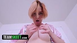 Horny stepson banged a hot busty redhead MILF stepmom