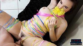 Hot teen girlfriend surpises her boyfriend on his bday