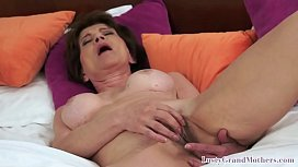 Masturbating granny gets pussyfucked by BBC