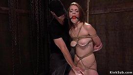 Brunette takes huge dick down her throat
