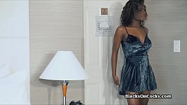 Large nipple busty black fucked by white dick