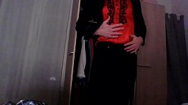 Amateur cross dresser back from the office in a sexy black blazer, red hot chinese qipao and a sexy black skirt touching and masturbating