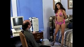 Exotic brunette sucks and fucks older stud in his office