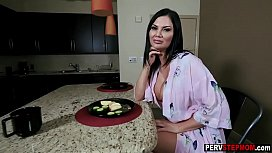 Busty lonely MILF stepmom relaxed a nervous stepson