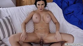 Busty brunette cougar Jasmine Jae shows off her fucking skills with her hot stepson.She takes his giant rock hard dick in her mouth and hungry pussy.