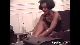 Hot mature ebony in stocking use her