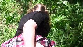 Stepsister fucked in the ass by stepbrother in the woods - Erin Electra