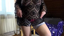 Mature milf in a sex chat shows a plump figure and changes clothes. Big tits, hairy pussy, juicy booty and fat belly in front of webcam.