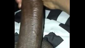 Jerking my big black dick to my uncle wife