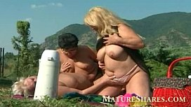 Lesbian granny outdoor plumpers