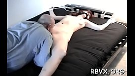 Tightly bound slut gets her snatch thoroughly examined