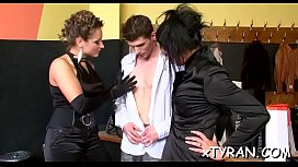Hot femdom fetish action with sexy babe thrashing chap