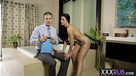 Naughty mature seduced a naive inspector with big cock